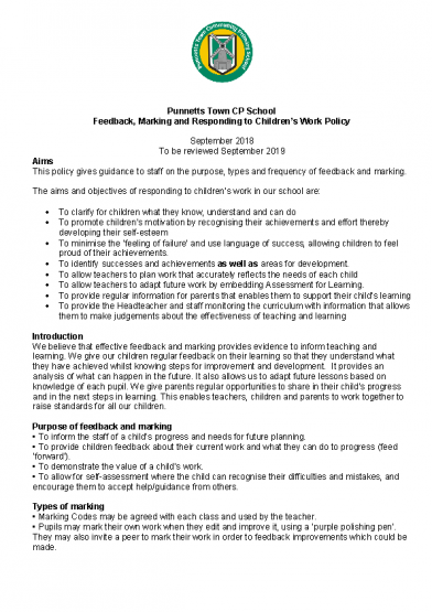 Feedback & Marking Policy