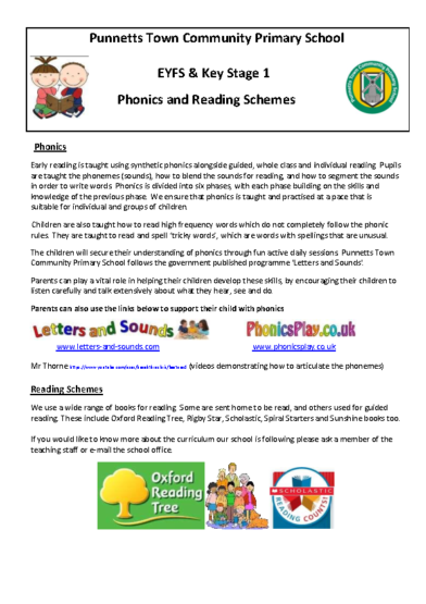 Phonics and Reading Schemes