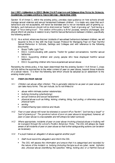 Child Protection and Safeguarding Policy Addendum
